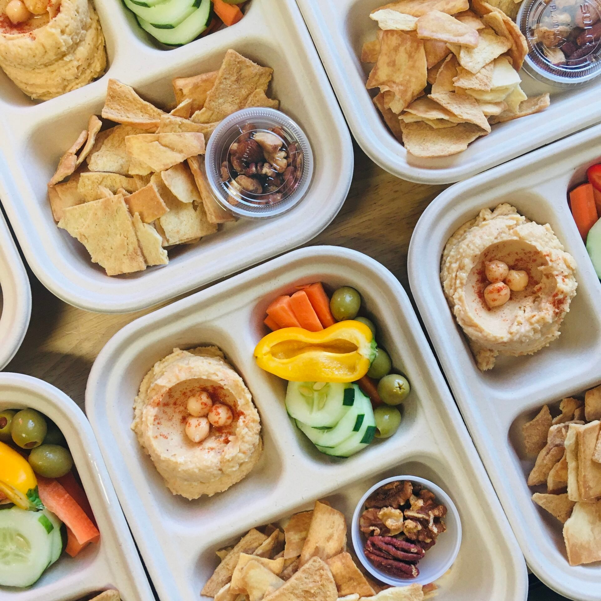3 compartment food container with snacks