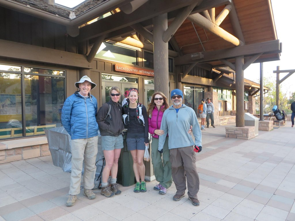 The morning of our hike, waiting for the shuttle bus at the Backcountry Information Center. I joked that you can tell who's from Seattle and who's from LA in this picture, ha! Annette and I clearly think 40 is warm :)