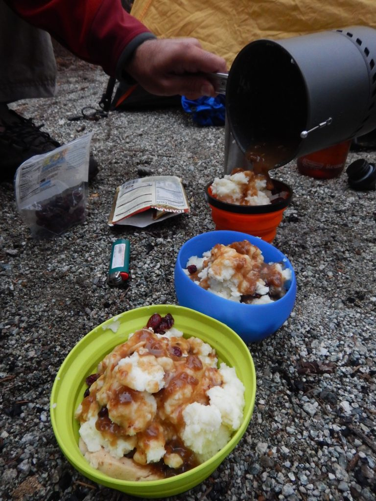 Easily one of the best dinners I've ever had in the backcountry: mashed potatoes, turkey gravy, chicken, and cranberries. Thanksgiving dinner at it's finest!