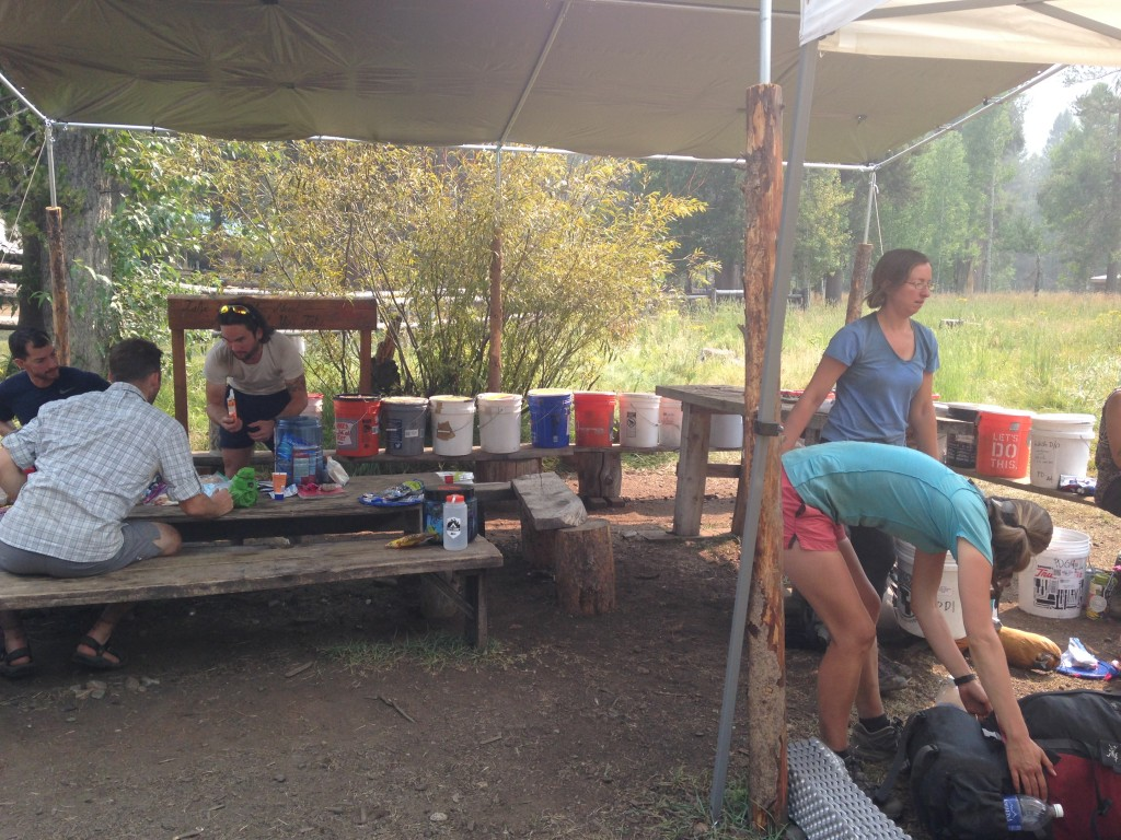 Resupplying at the Muir Trail Ranch. It was an explosion of food!