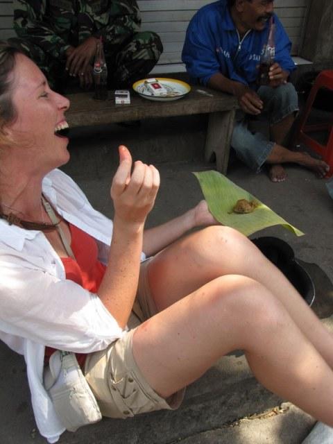 Joya sampling the spicy fish