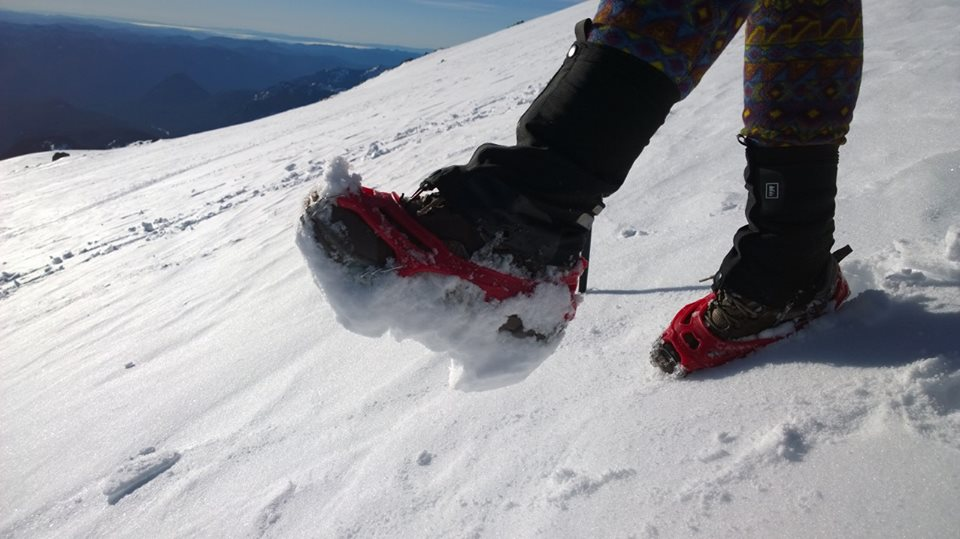 """I took my spikes off on the downhill - the snow was balling up much too quickly and almost caused me a faceplant. I joked that """"Hey look, I'm wearing Hokas!"""""""