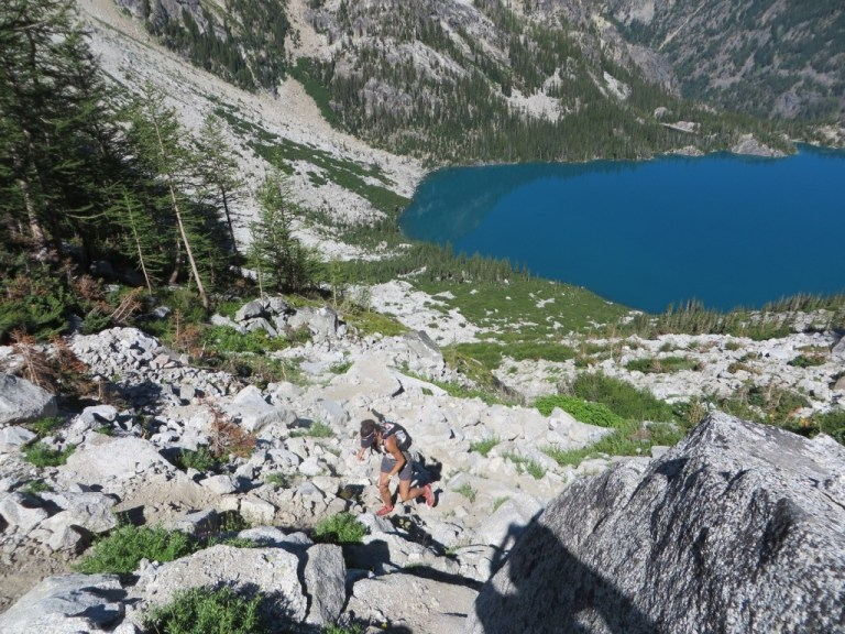 Heading up the brutal Aasgard Pass with Colchuck Lake below
