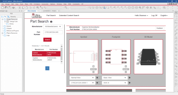 Electronic parts search request in CAD software