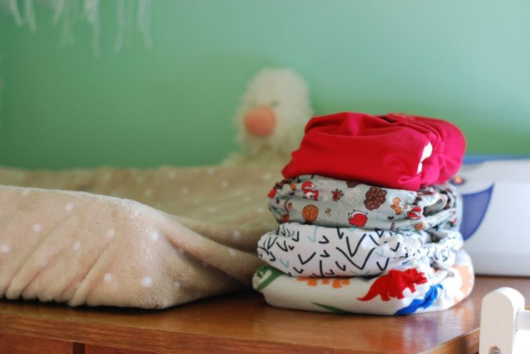 Cloth diapers on the changing table