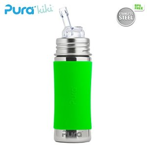 Pure Trinkflasche mit Trinkhalm