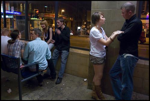 Boar Lane busstop, midnight