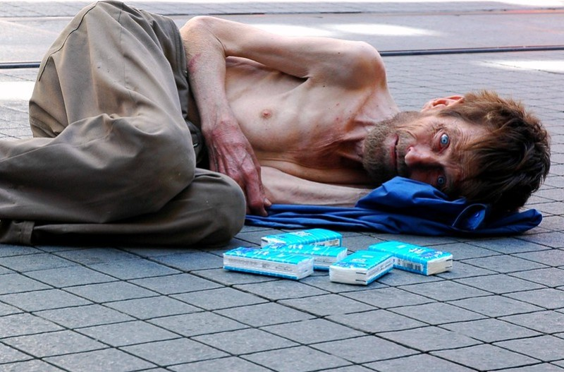 a homeless playing jesus