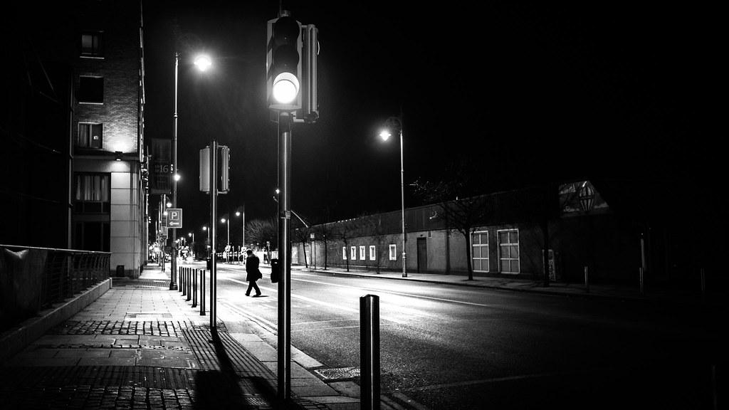 Green light  Dublin Ireland  Black and white street pho