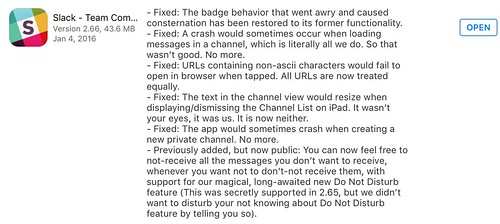 Another awesome Slack update message