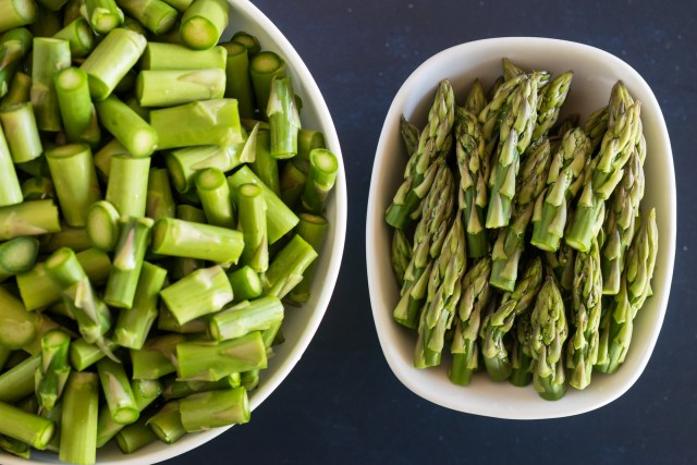 the asparagus tips are set aside for later