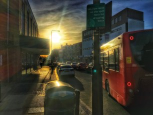 Sun setting in Eltham High Street.