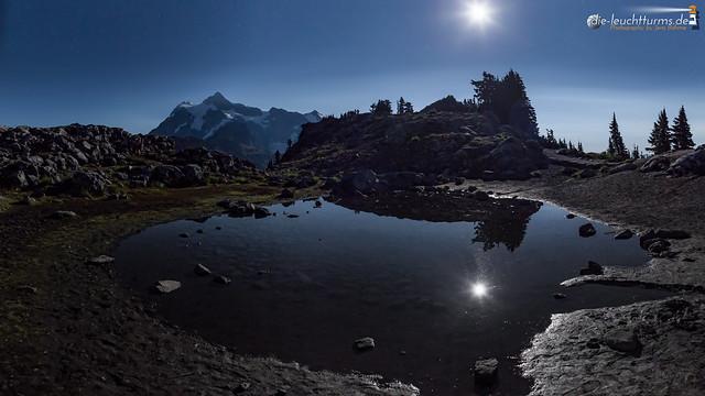 Full moon above Mt. Shuksan