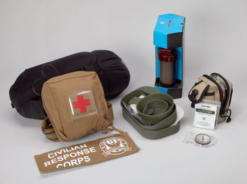 """Selection of items from a Civilian Response Corps """"go bag"""""""