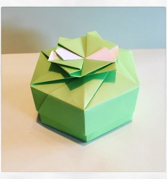 hexagon box designed by tomoko fuse modular origami box green  [ 1024 x 1024 Pixel ]