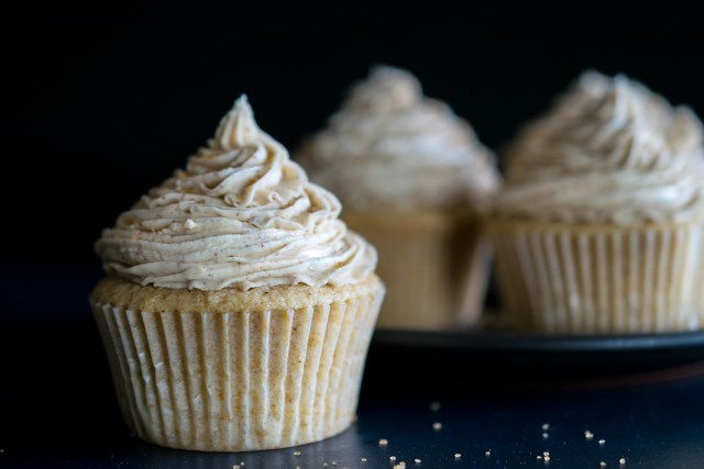 soft fluffy cupcakes topped with creamy chai frosting