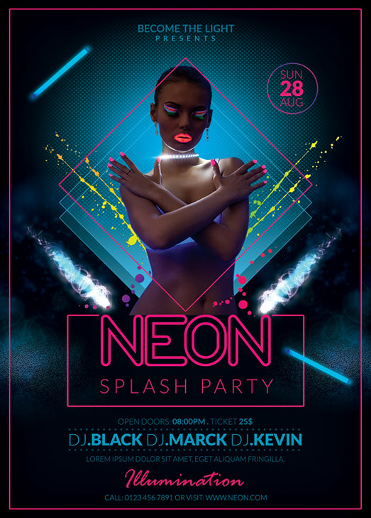 Neon Party Flyer Template  You can DOWNLOAD the PSD file he  Flickr