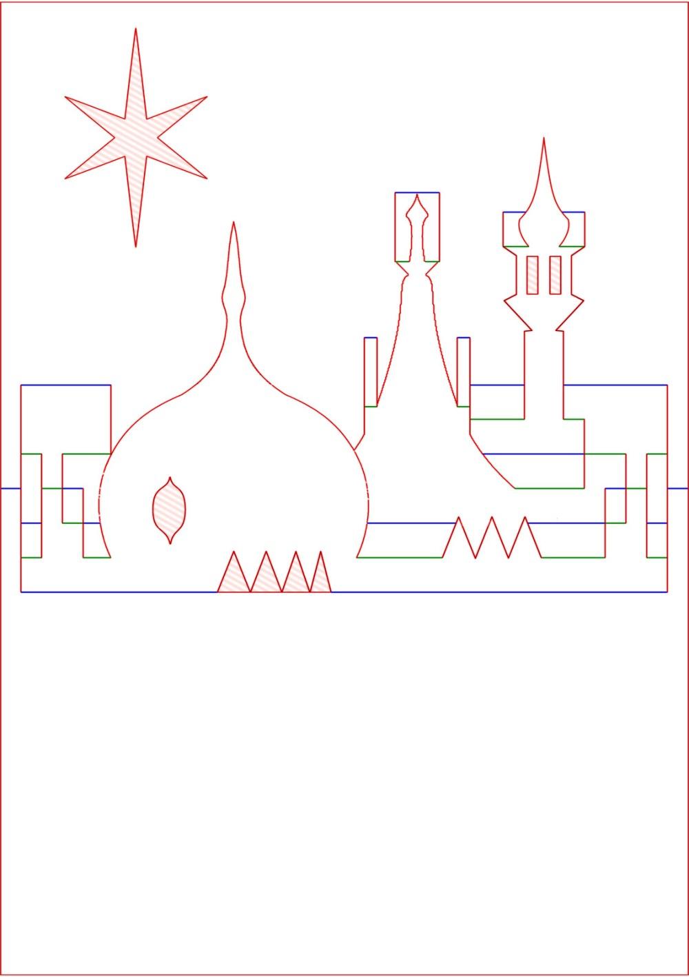 medium resolution of kirigami diagram pop up card prince regent royal brighton pavilion rooftop skyline