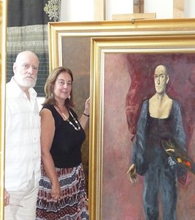 Ileana Costea în vizită la atelierul Maestrului Vladimir Zamfirescu, București, vara 2009.