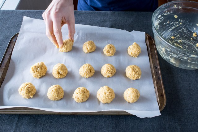 forming the dough into one-inch matzo balls