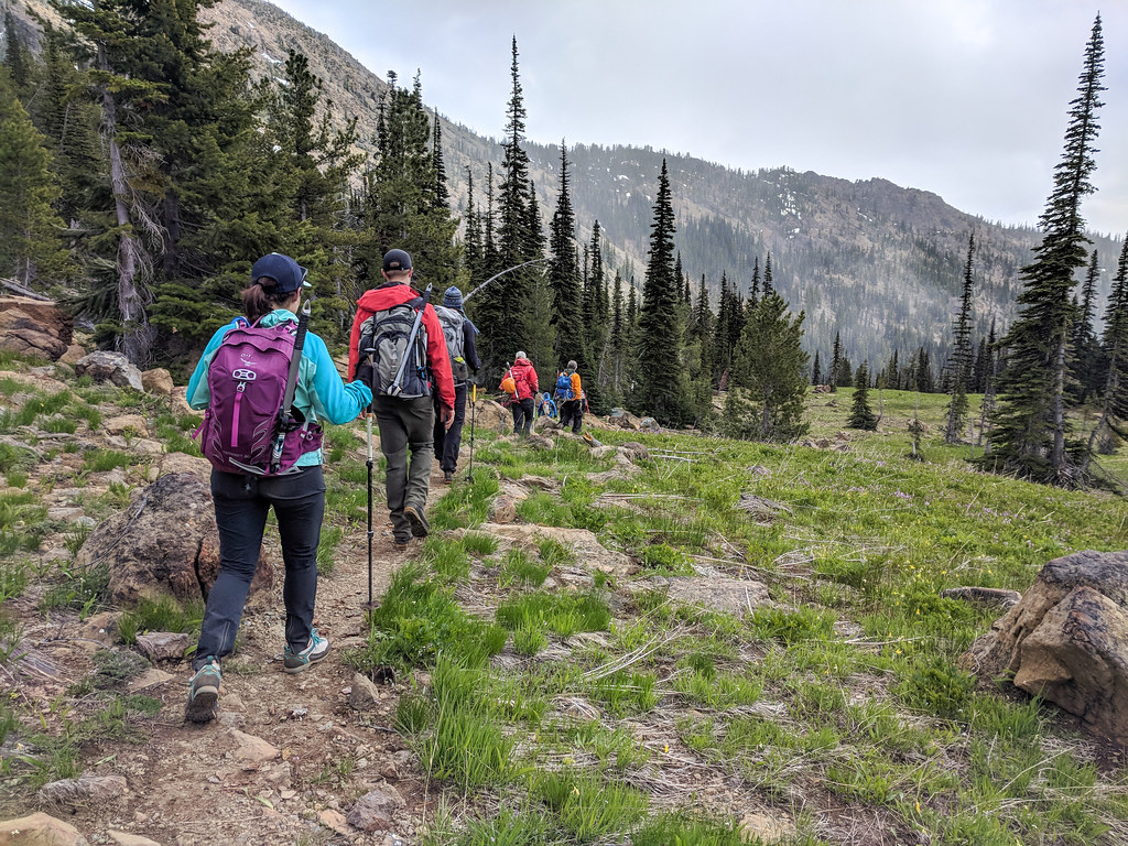 hiking in a group
