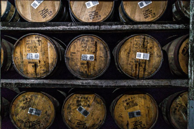 these barrels of bourbon spend years aging to perfection