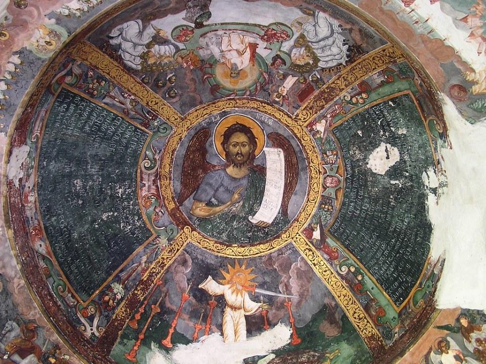pintura cúpula interior iglesia de la Resurrección de Cristo Monasterio Sucevita en Sucevița Rumania41