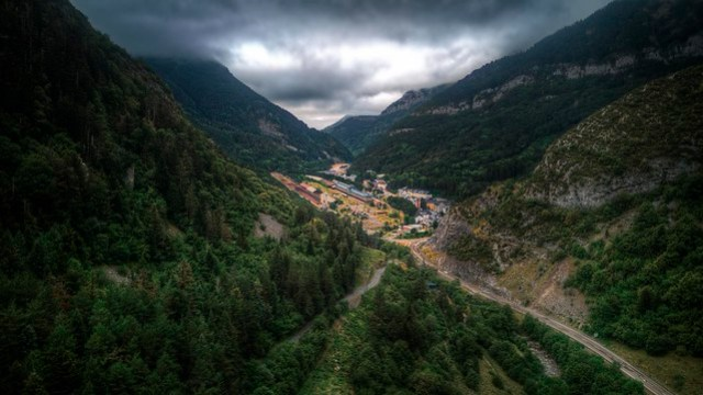 Canfranc International Railway Station in the middle of the valley