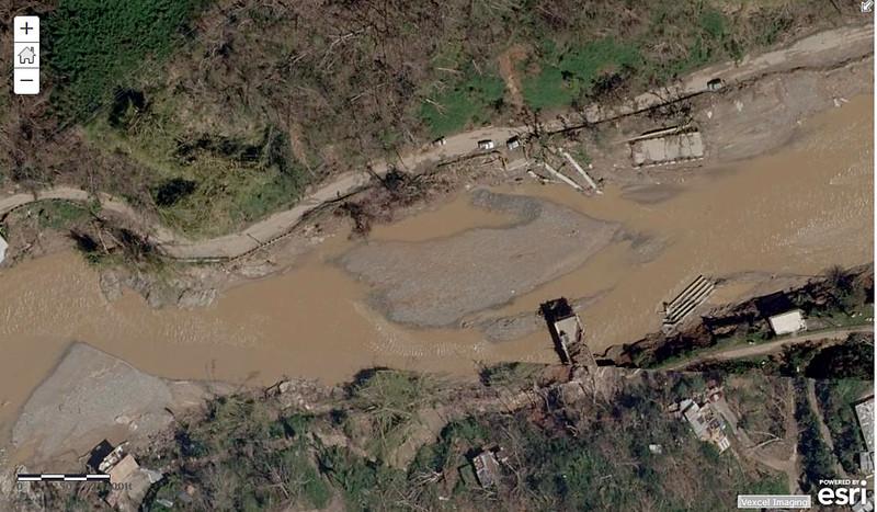 Puente derrumb PR-123 aguas abajo Caguanita Arecibo