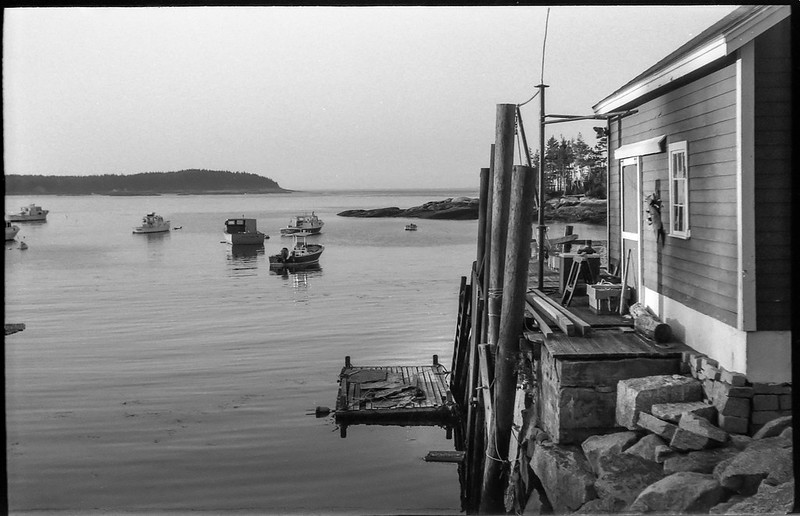 working wharf, lobster boats, sunset, harbor, Spruce Head, Maine, Exa (original), Arista.Edu 200, Kodak TMAX developer, 9.13.18