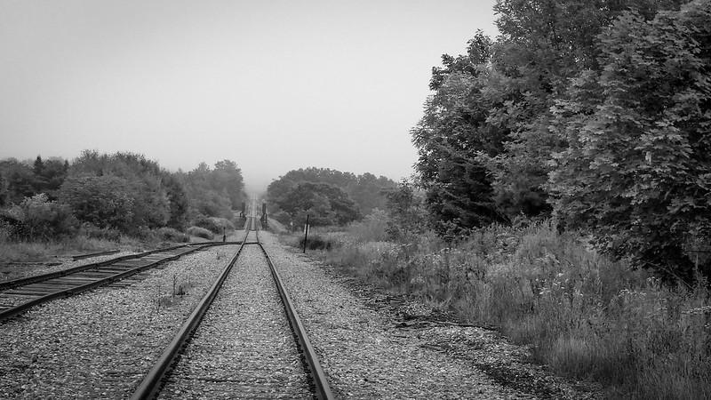 railroad tracks, trestle, fog, Thomaston, Maine, Panasonic Lumix FZ200, 8.16.18