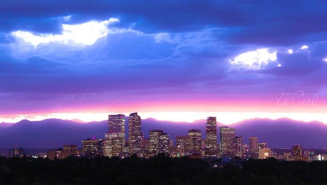 Neon lavender clouds above Denver, Colorado