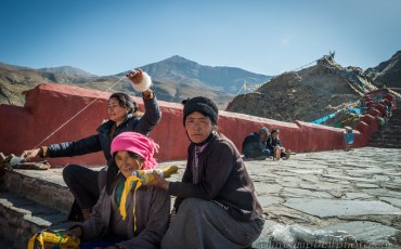 Spinning & Selling Prayer Flags