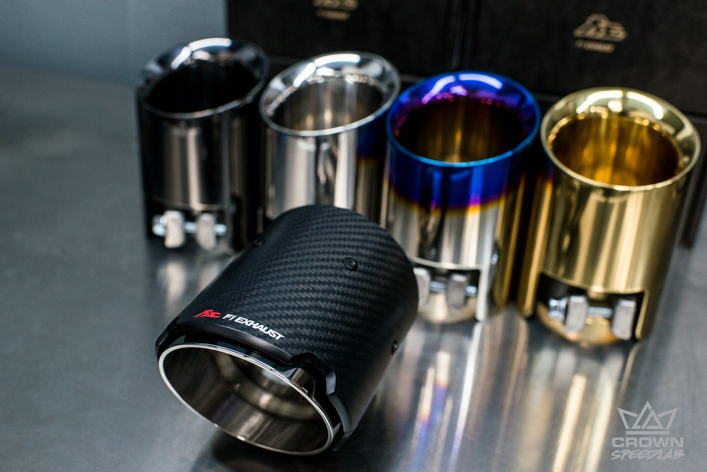 fi exhaust tips silver black gold blue titanium carbon fib flickr