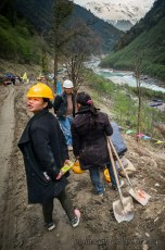 Workers on the Nyingchi-Bome Highway