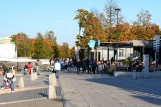 Sidewalks along the   Ukiel Lake. City of Olsztyn (Poland 2018)