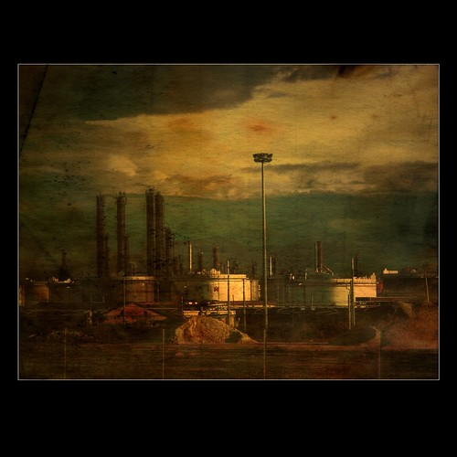 industrial landscape in polluted