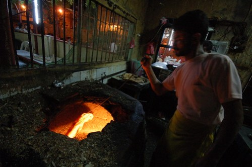 Bread-making in an Aden fish restaurant