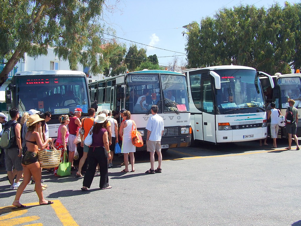 Mykonos bus station - Plateia platis gialos | GreeceMad | Flickr
