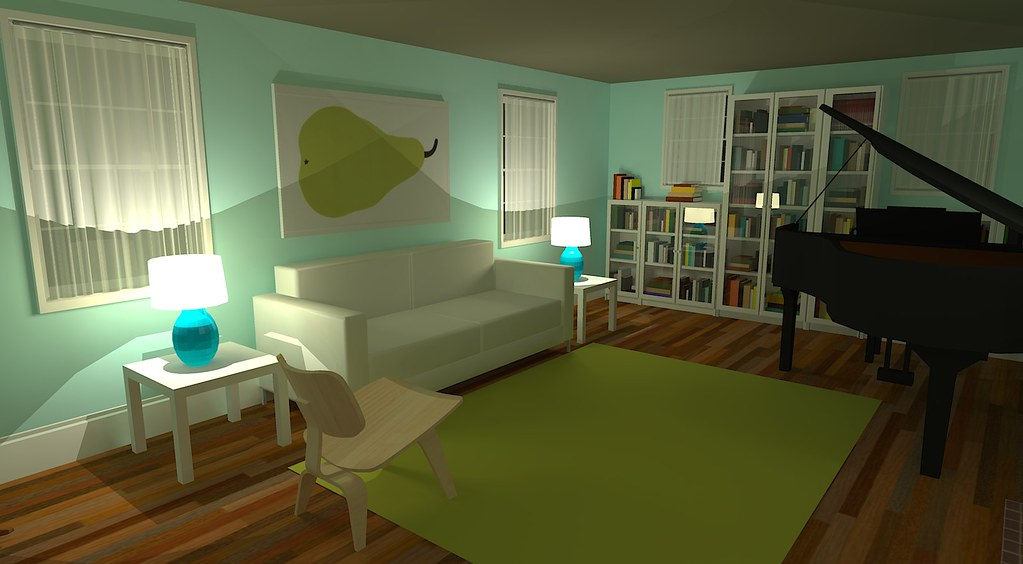 Google Sketchup  living room  IKEA Lack side tables