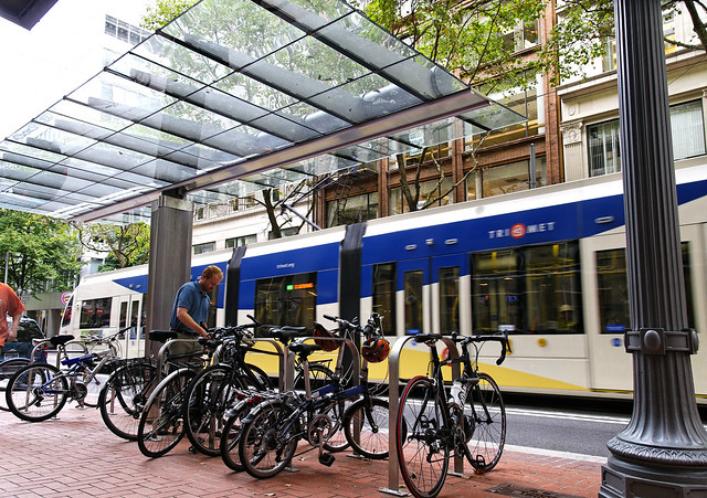 Bike Oasis on the Portland Transit Mall