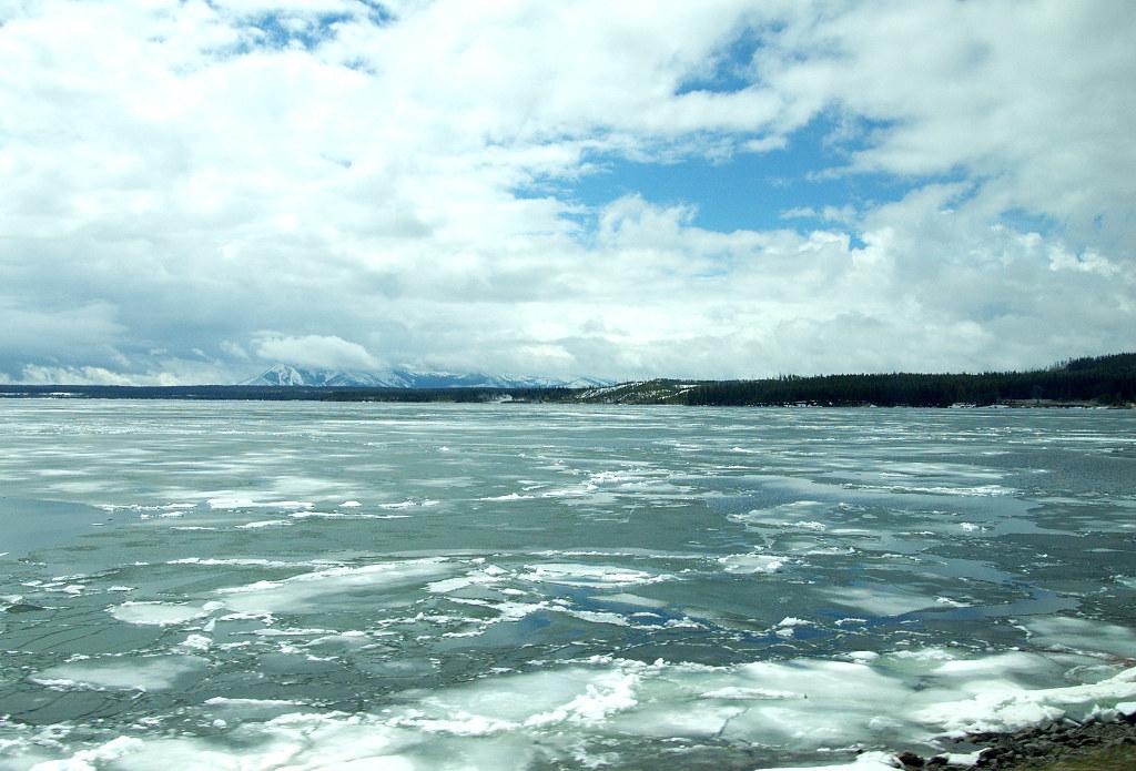 Yellowstone Lake | 黃石湖湖面上漂著尚未溶化的浮冰 | Hylix Tseng | Flickr