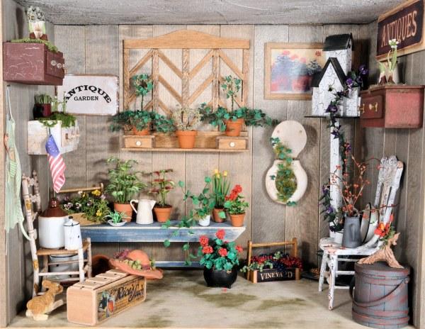 garden room scene 1 12 scale dollhouse