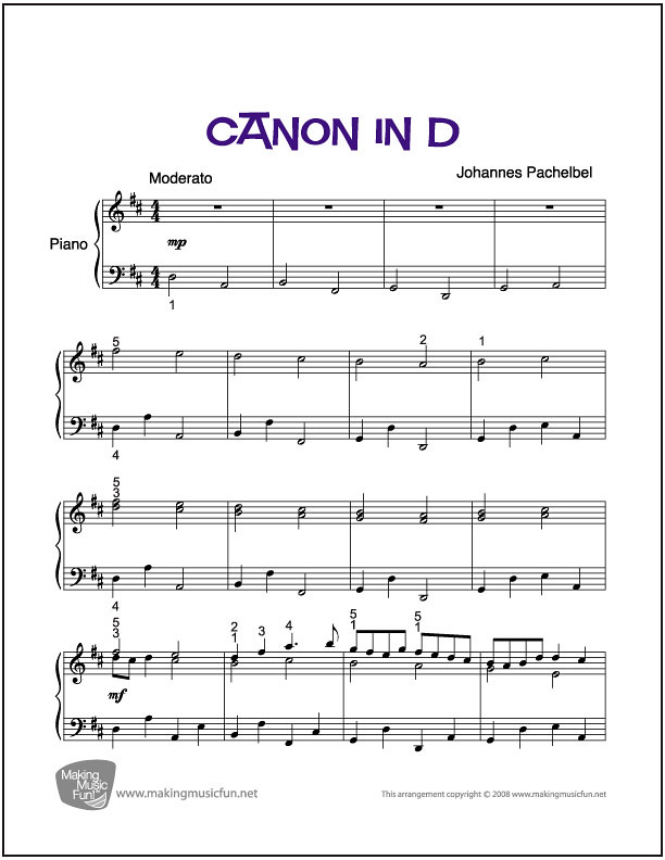 Canon In D Easy Classical Piano Sheet Music | piano sheet music notes