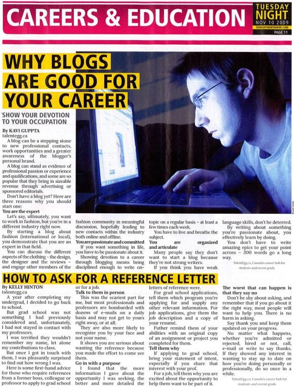 TalentEgg content in t.o.night newspaper (Nov. 10, 2009)