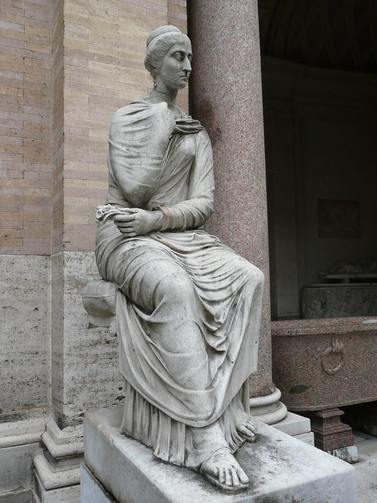 Estatua Sedente Patio Octogonal Museo P 237 O Clementino