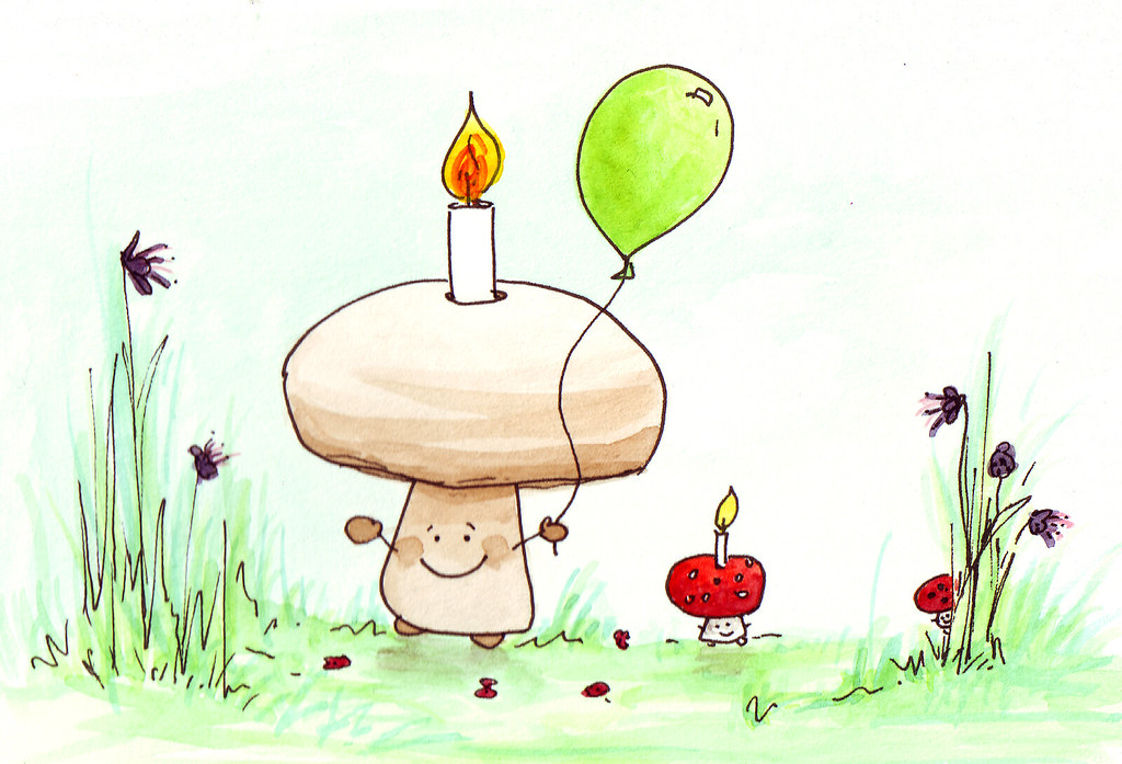 Happy Birthday Mushroom Birthday Card For Someone Whose