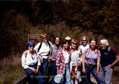 P008.013m.r.t Mt. Palomar 1983: Group photo with Gretchen Alspach, Diane F. Germain, Rosemary, Sue, Mary Russell, Jan, Ann Ramsey, Isha, and Margaret Lewis