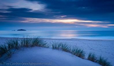 Dunes and grasses at Sandwood Bay, dusk