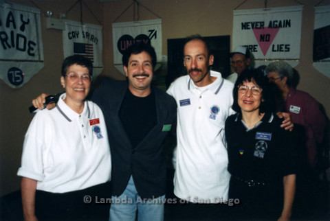 San Diego LGBT Pride Parade 1998: Pride Board members; Lois Gail (left), unknown, Joe Mayer (2nd right) and Judy Reif (far right)